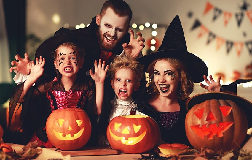 A happy family of monsters enjoying Halloween in your costumes. There are great ways to enjoy Halloween without the Cavities